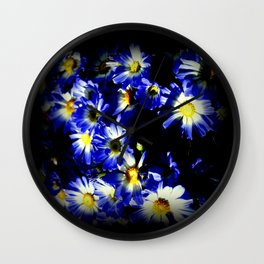 Blue Daises Wall Clock