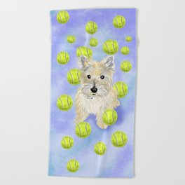 Miss Caroline the Cairn Terrier is Obsessed About Fetching Tennis Balls Beach Towel