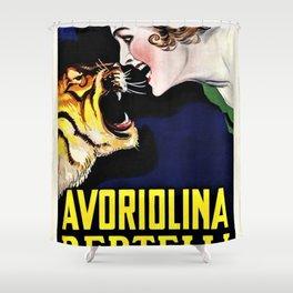 Vintage Avoriolina Bertelli Tiger Advertisement Wall Art Shower Curtain
