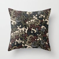 military Throw Pillows featuring Military pattern by Julia Badeeva
