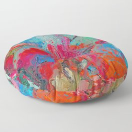 Heaven Rejoices Multi Colored Abstract Luke 15:7 Floor Pillow