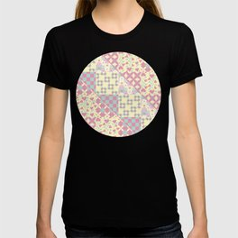 Squares & Triangle Patchwork Pattern in Pink, Yellow & Green T-shirt