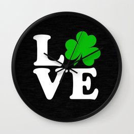 Love with Irish shamrock Wall Clock