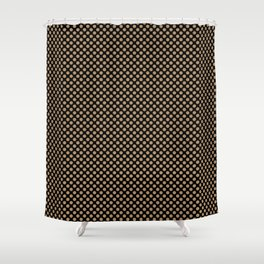 Black and Iced Coffee Polka Dots Shower Curtain