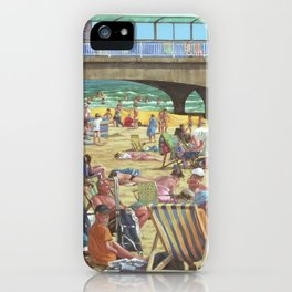 people on bournemouth beach iPhone Case