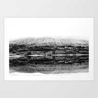 Black & White landscape reflected in a calm lake Art Print