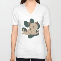 mew V-neck T-shirts featuring Mama, Mew...Mew... by HK Chik