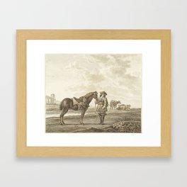 Ruiter in landschap, Abraham Delfos, Aelbert Cuyp, 1741 - 1820 Framed Art Print