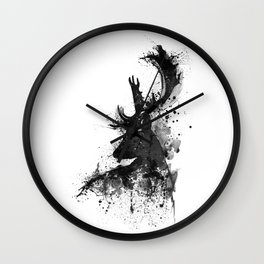 Deer Head Watercolor Silhouette - Black and White Wall Clock