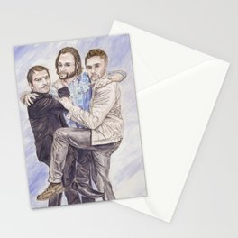 Team Free Will: Misha Collins; Jared Padalecki and Jensen Ackles, watercolor painting Stationery Cards