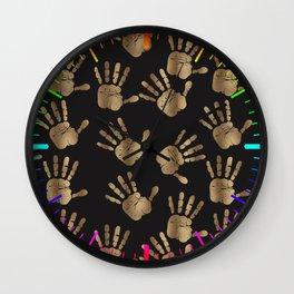 Abstract Golden hands Open Hands Open heart Wall Clock