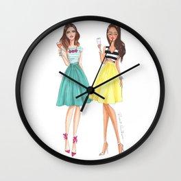 Cheers Fashion Illustration by Reyni Ramirez Wall Clock