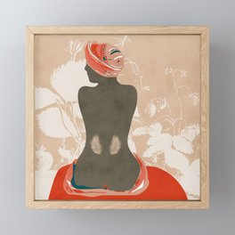 woman with leaves Framed Mini Art Print