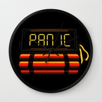 panic at the disco Wall Clocks featuring PANIC by Terry Mack
