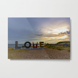 LOVEwork Sign at Sunset in Cape Charles Metal Print
