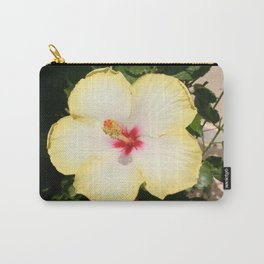 Pale Yellow Hibiscus Flower - Front View  Carry-All Pouch