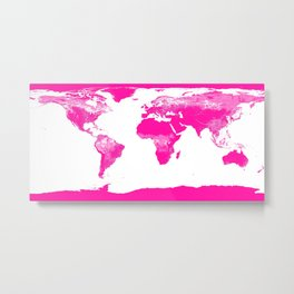 World Map Hot Pink Metal Print