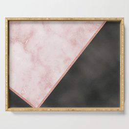 Sivec Rosa marble - black leather Serving Tray