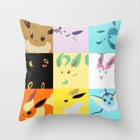 eevee Throw Pillows featuring Eevee evolutions square- Eeeveelutions PKMN by Rebekhaart
