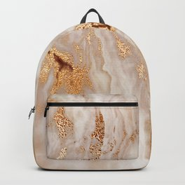 Glamorous Gold Glitter Vein Marble With Copper Sparkles Backpack