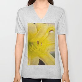 Yellow Blooming Canna Flower Nature Floral Fine Art Framed Lustre Wall Art Print  Unisex V-Neck