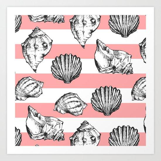 Seashells. Striped pattern Art Print