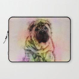 Shar-Pei puppy Sketch Digital Art Laptop Sleeve