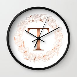 Letter T Rose Gold Wedding Initial Wall Clock