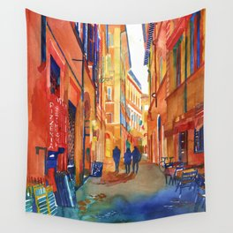 Pizzeria in Rome Wall Tapestry
