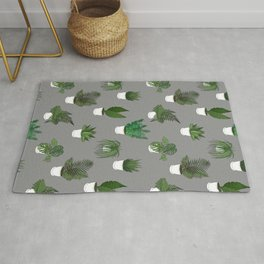 Houseplants Illustration (grey background) Rug