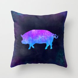 PIG IN SPACE // Animal Graphic Art // Watercolor Canvas Painting // Modern Minimal Cute Throw Pillow