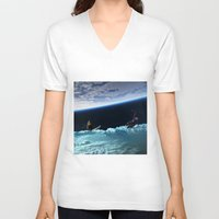 skiing V-neck T-shirts featuring Skiing by Cs025