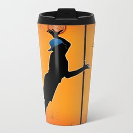 Basketball Player Silhouette Metal Travel Mug