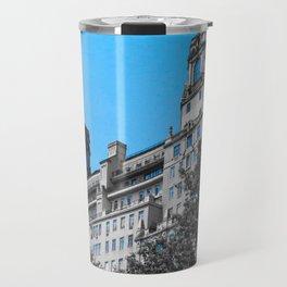 Manhattan building, beautiful in blue Travel Mug