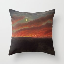 Wild fire between Mount Elephant and Timboon by Eugene von Guerard Throw Pillow
