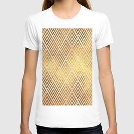 Gold foil triangles on pink - Elegant and luxury triangle pattern T-shirt