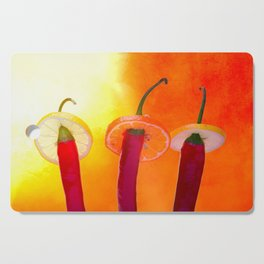 Red chili peppers. Hola Amigo Cutting Board
