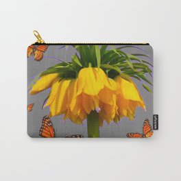 ORANGE MONARCH BUTTERFLIES CROWN IMPERIAL FLOWER Carry-All Pouch