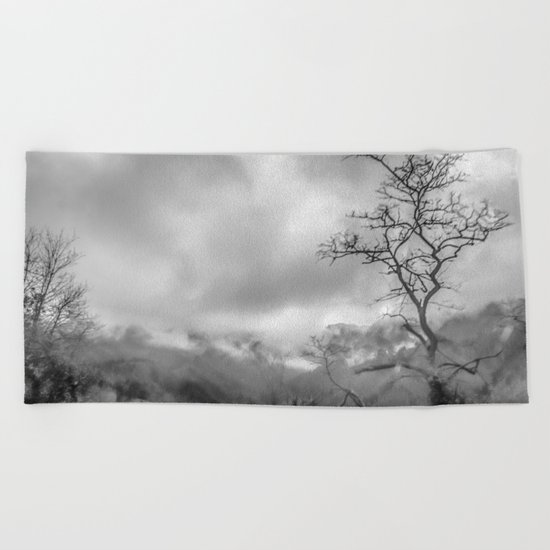 Mist in mountains Beach Towel