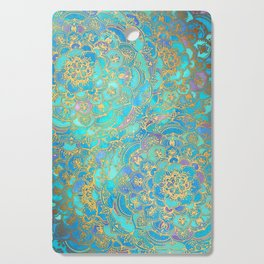 Sapphire & Jade Stained Glass Mandalas Cutting Board