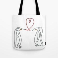 Penguins in love single line drawing Tote Bag