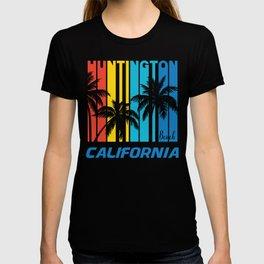 Retro Huntington Beach California Palm Trees Vacation T-shirt