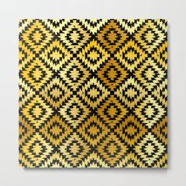 Turkish carpet gold black. Patchwork mosaic oriental kilim rug Metal Print