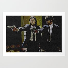 Text Portrait of Vincent Vega and Jules Winnfield with Full Script of Pulp Fiction Art Print