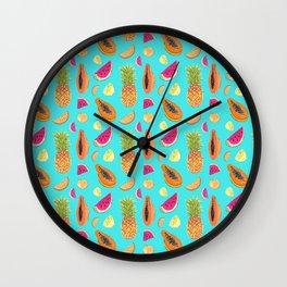 Frutas Tropicales en fondo celeste Wall Clock