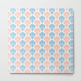 Vintage chic ivory coral blue floral damask pattern Metal Print