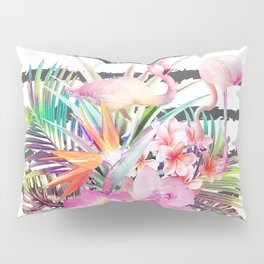 Tropical floral leaves and flamingos stripes Pillow Sham