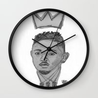 kendrick lamar Wall Clocks featuring King Kendrick by Alonzo Mornin