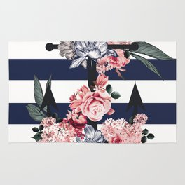 Nautical Vintage Anchor, Flowers and Stripes Rug