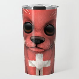 Cute Puppy Dog with flag of Switzerland Travel Mug